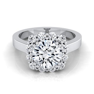 14k White Gold 1 2/5ct TDW Round Diamond Halo Engagement Ring (H-I, VS1-VS2)