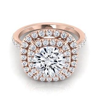 14k Rose Gold 1 1/2ct TDW Round Diamond Double Halo Engagement Ring (H-I, VS1-VS2)
