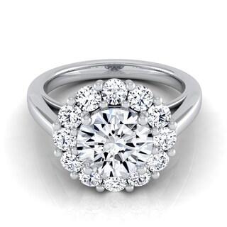 14k White Gold 1 7/8ct TDW Round Diamond Prong-set Halo Engagement Ring