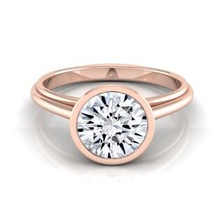 14k Rose Gold 1ct TDW Round Diamond Bezel Solitaire Engagement Ring (H-I, VS1-VS2)