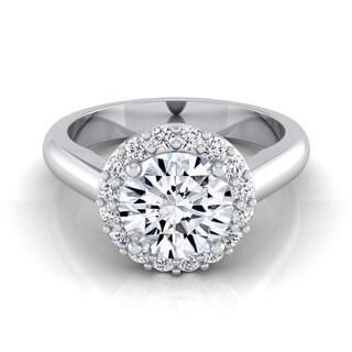 14k White Gold 1 1/5ct TDW Round Diamond Classic Halo Engagement Ring (H-I, VS1-VS2)