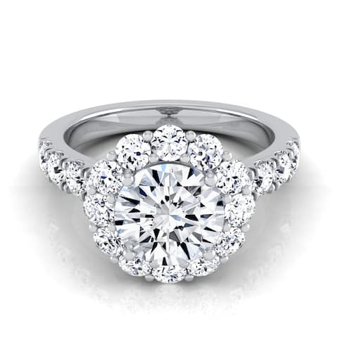 14k White Gold 2 1/10ct TDW Round Diamond Halo Engagement Ring