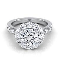 14k White Gold 2 1/10ct TDW Round Diamond Halo Engagement Ring