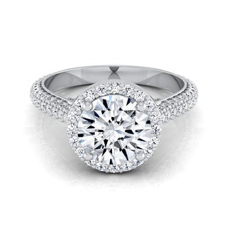 14k White Gold 1 7/8ct TDW Diamond Pave IGI-certified Engagement Ring (H-I, VS1-VS2)
