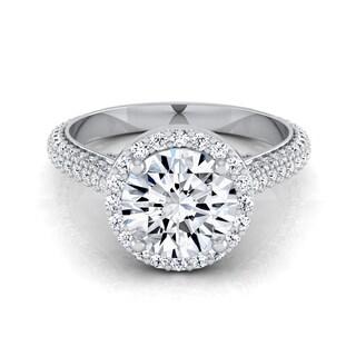 14k White Gold 1 7/8ct TDW Diamond Pave IGI-certified Engagement Ring