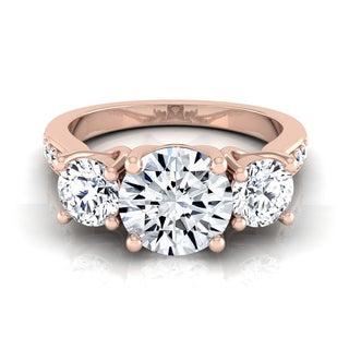 14k Rose Gold 1 7/8ct TDW Round 3-stone Engagement Ring (H-I, VS1-VS2)