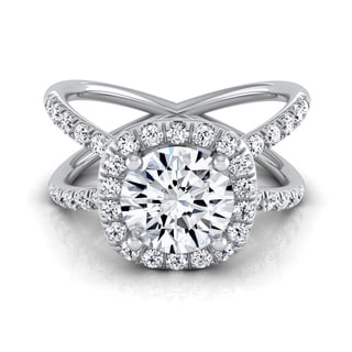 14k White Gold 1 1/2ct TDW Round Diamond Halo Crossover Pave Shank Engagement Ring (H-I, VS1-VS2)
