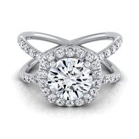14k White Gold 1 1/2ct TDW Round Diamond Halo Crossover Pave Shank Engagement Ring