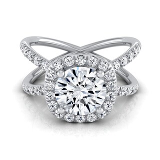 14k White Gold 1 1/2ct TDW Round Diamond Halo Crossover Pave Shank Engagement Ring (More options available)
