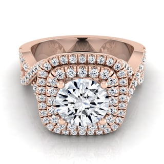14k Rose Gold 1 5/8ct TDW Round Double Square Halo Infinity Shank Ring (H-I, VS1-VS2)