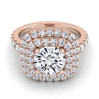 14k Rose Gold 1 1/10ct TDW Round Diamond Double Entourage Engagement Ring (H-I, VS1-VS2)