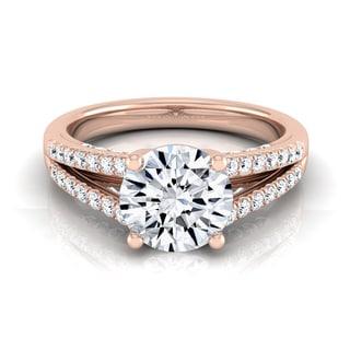 14k Rose Gold 1 1/3ct TDW Round Diamond Split Shank Engagement Ring (H-I, VS1-VS2)