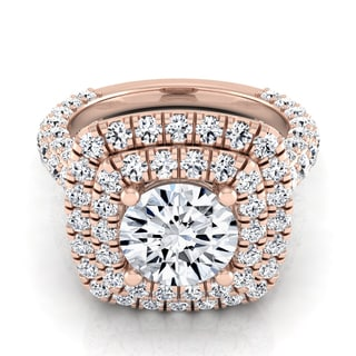 14k Rose Gold 3 1/6ct TDW Round Diamond Double Square Halo Engagement Ring (H-I, VS1-VS2)
