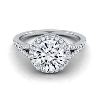 14k White Gold 1 1/4ct TDW Round Diamond Halo Scroll Engagement Ring (H-I, VS1-VS2)