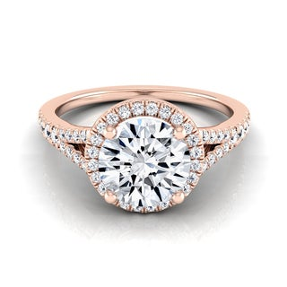 14k Rose Gold 1 1/4ct TDW Round Diamond Halo Scroll Gallery Engagement Ring (H-I, VS1-VS2)