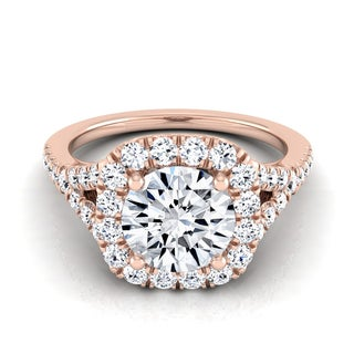 14k Rose Gold 1 1/2ct TDW Round Diamond Square Halo Engagement