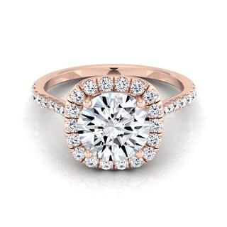 14k Rose Gold 1 2/5ct TDW Round Diamond Halo Engagement Ring (H-I, VS1-VS2)
