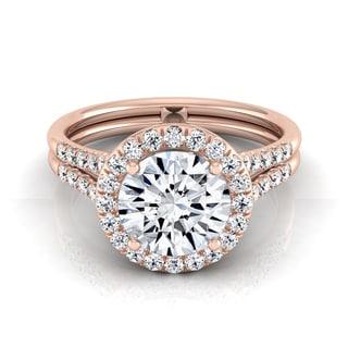 14k Rose Gold 1 2/5ct TDW Round Diamond Halo Split Shank Engagement Ring (H-I, VS1-VS2)