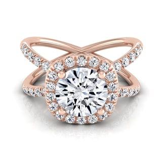 14k Rose Gold 1 1/2ct TDW Round Diamond Halo Engagement Ring (H-I, VS1-VS2)