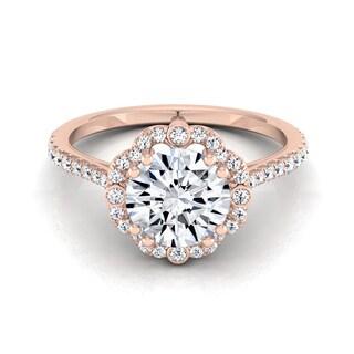 14k Rose Gold 1 1/4ct TDW Round Diamond Scalloped Halo Engagement Ring (H-I, VS1-VS2)