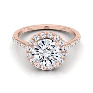 14k Rose Gold 1 2/5ct TDW Round Diamond Round Halo Engagement Ring (H-I, VS1-VS2)