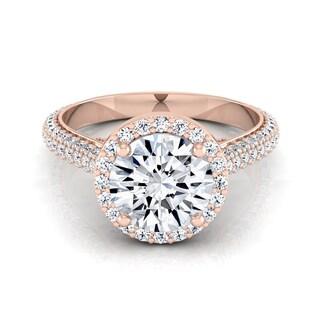 14k Rose Gold 1 7/8ct TDW Round Diamond Pave Engagement Ring (H-I, VS1-VS2)
