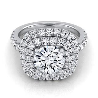 14k White Gold 1 1/10ct TDW Round Diamond Double Entourage Engagement Ring (H-I, VS1-VS2)
