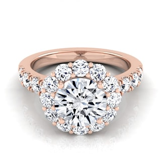 14k Rose Gold 2 1/10ct TDW Round Diamond Halo Engagement Ring (H-I, VS1-VS2)