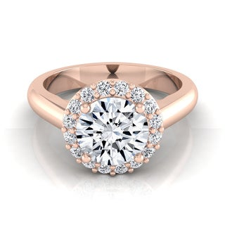 14k Rose Gold 1 1/5ct TDW Round Diamond Classic Halo Engagement Ring (H-I, VS1-VS2)