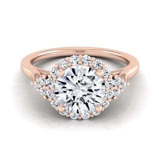 14k Rose Gold 1 1/4ct TDW Round Diamond Halo Engagement Ring (H-I, VS1-VS2)