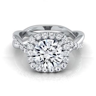 14k White Gold 1 2/5ct TDW Round Diamond Halo Engagement Ring