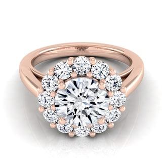 14k Rose Gold 1 7/8ct TDW Round Diamond Prong-set Halo Engagement Ring (H-I, VS1-VS2)
