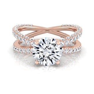 14k Rose Gold 2 1/4ct TDW Round Diamond Engagement Ring