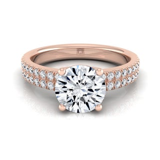 14k Rose Gold 1 1/4ct TDW Round Diamond Double Row Engagement Ring (H-I, VS1-VS2)