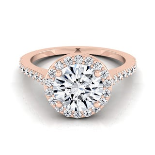 14k Rose Gold 1 1/3ct TDW Round Diamond Halo Engagement Ring (H-I, VS1-VS2)