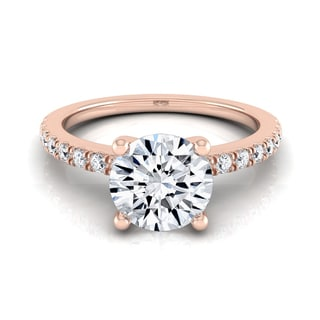 14k Rose Gold 1 1/5ct TDW Round Center Classic Petite Split Prong Diamond Engagement Ring (H-I, VS1-VS2)