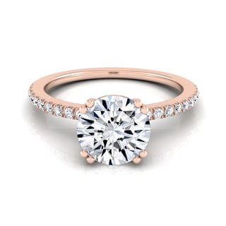 14k Rose Gold 1 1/6ct TDW Diamond Classic Petite Split Prong IGI-certified Engagement Ring (H-I, VS1-VS2)