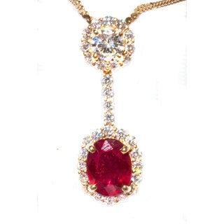 18k Yellow Gold Ruby 1/3ct TDW Diamond Pendant with Chain (G-H, VS1-VS2)