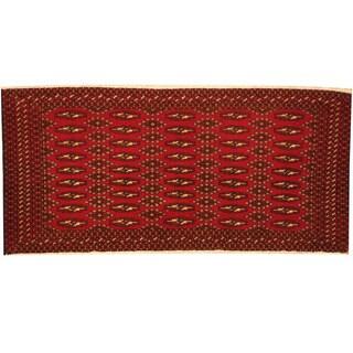 Herat Oriental Persian Hand-knotted Tribal Turkoman Wool Rug (2' x 4'2)