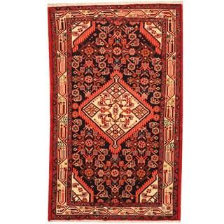 Herat Oriental Persian Hand-knotted Tribal Hamadan Wool Rug (2'7 x 4'1)
