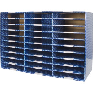 Storex Blue Corrugated 30 Compartment Mailroom Sorter