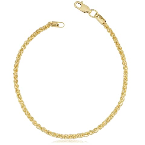 Fremada 14k Yellow Gold Filled 2.5-mm Round Wheat Chain Bracelet (7.5 or 8.5 inches)