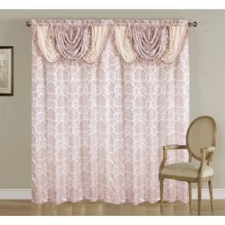 Artistic Linen Scarlett Jacquard Rod Pocket Window Curtain Panel with Attached Valance