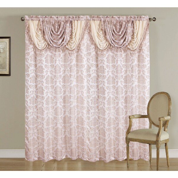 jacquard rod pocket window curtain panel with attached valance