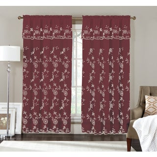 Holly by Artistic Multicolor Linen Embroidered Rod-pocket Window Curtain Panel and Valance