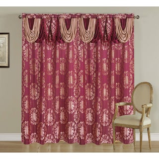 Elizabeth by Artistic Linen Jacquard Rod Pocket Window Curtain Panel and Attached Valance