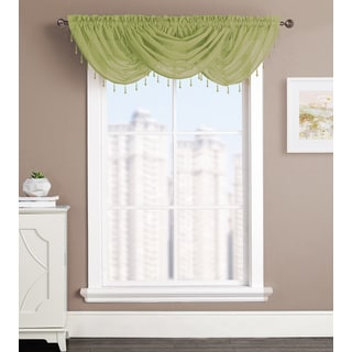 Artistic Linen Kylie Blue/Green Rod Pocket Waterfall Window Valance
