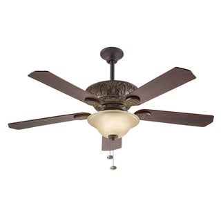 Traditional 52-inch Tannery Bronze Ceiling Fan with Light
