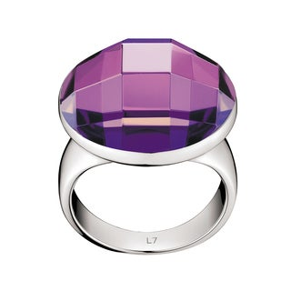 Calvin Klein Women's Continuity Stainless Steel Purple Round Glass Stone Fashion Ring