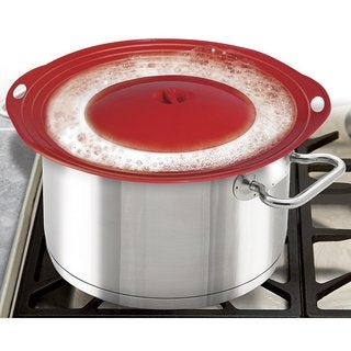 Imperial Home Red Silicone Stovetop or Microwave Boil-over Safeguard/Spill Stopper